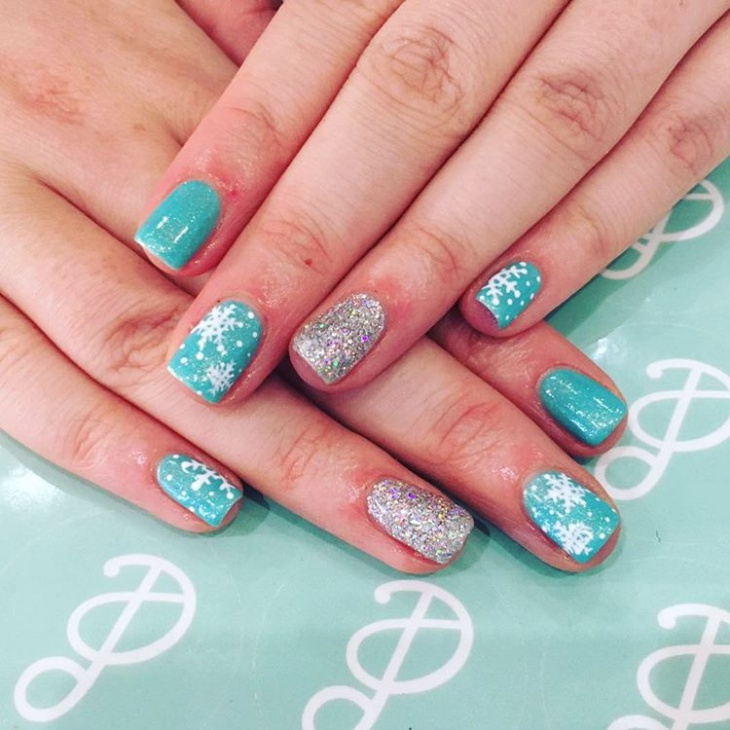blue christmas nail art for cute nails