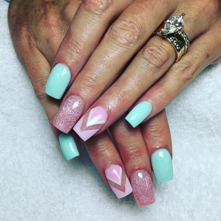 pink shimmer nail design