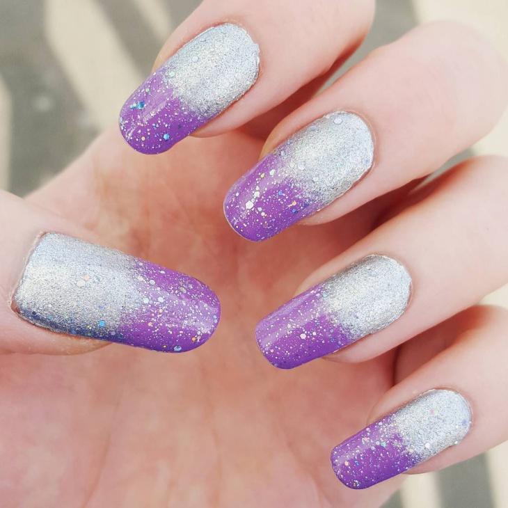 silver and purple glitter nail design