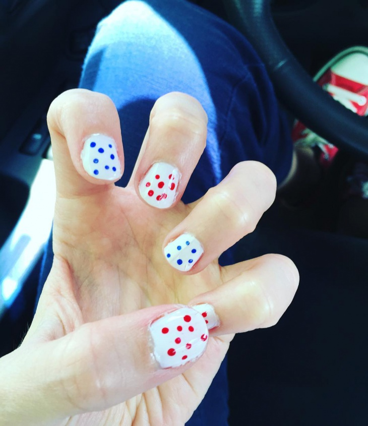 colorful polka doted nail art