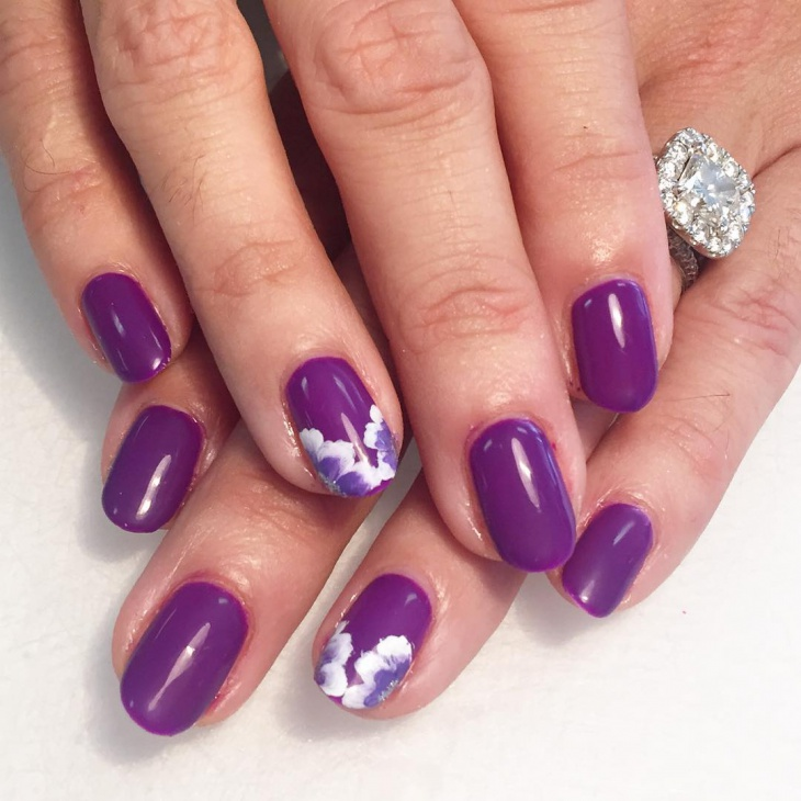 Purple Floral Print Nail Design
