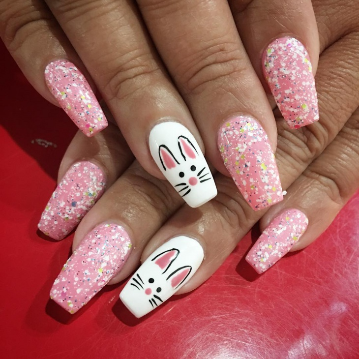 pink cat nail art design