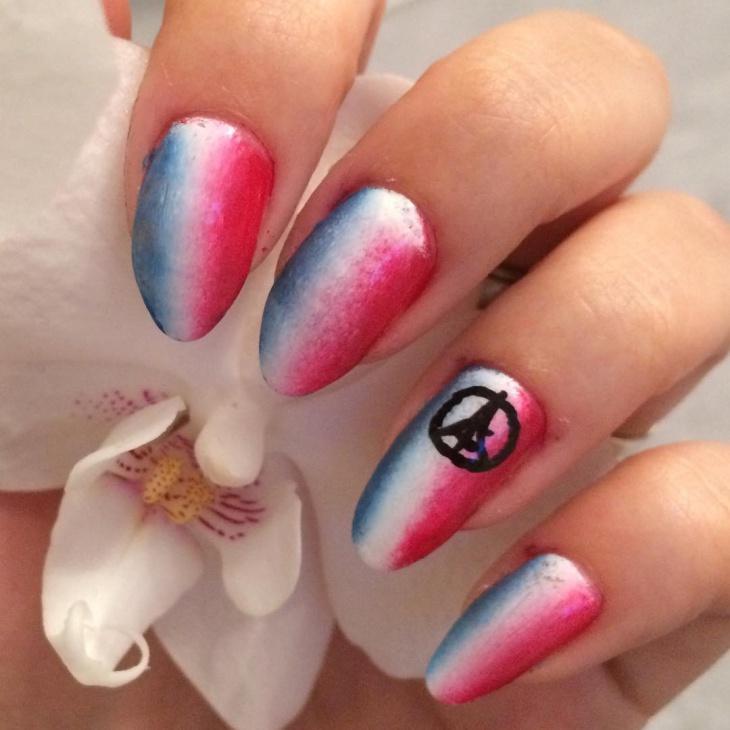 multi color polished nails