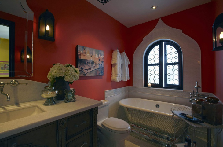red and white bathroom with soaking tub