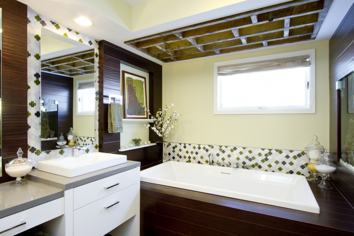 contemporary bathroom with single vanity