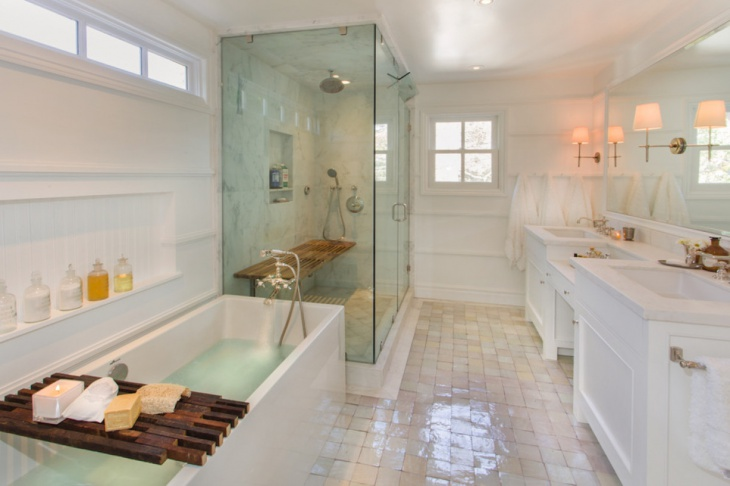 traditional bathroom with glass shower