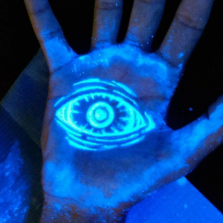 Glow in the Dark Eye Palm Tattoo
