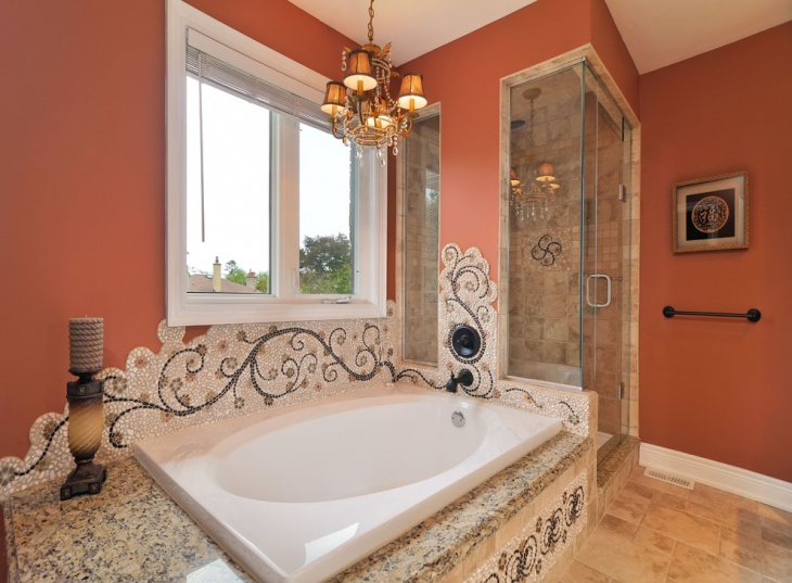 peach color traditional bathroom