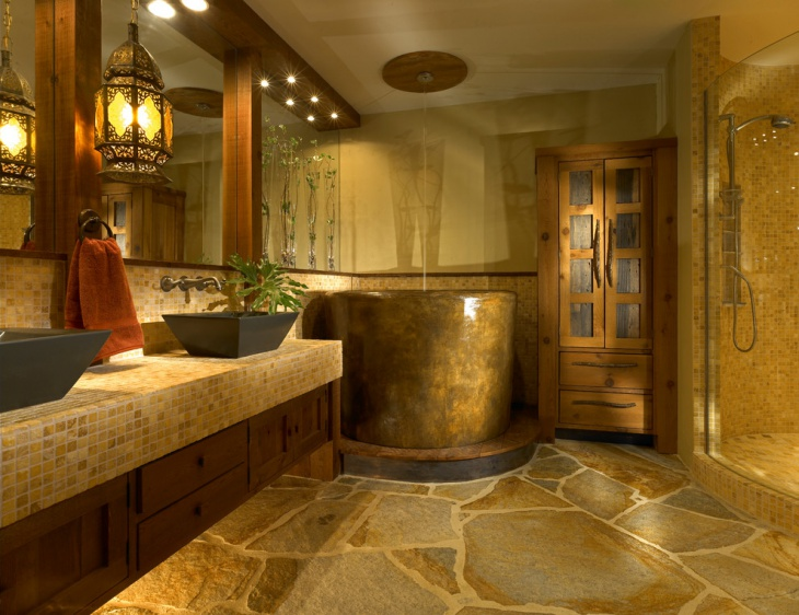 rustic gold vintage bathroom