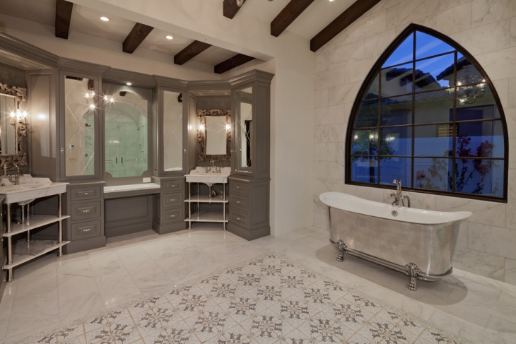 Mediterranean Bathroom with Marble Wall