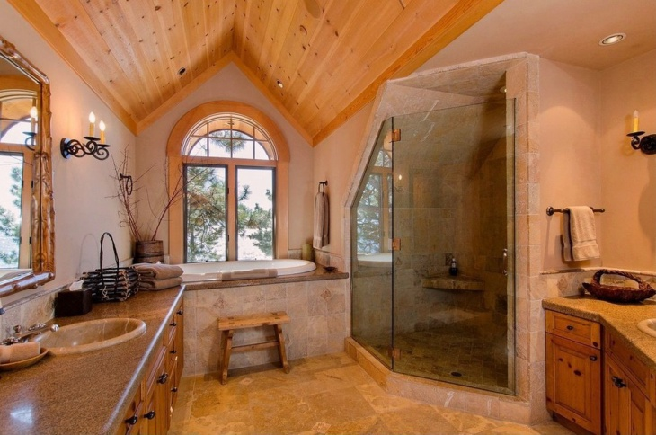 rustic bathroom with wooden roof
