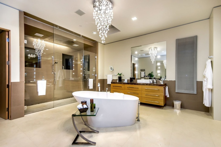 master bathroom with chandelier design