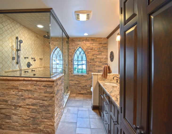 traditional stone wall bathroom