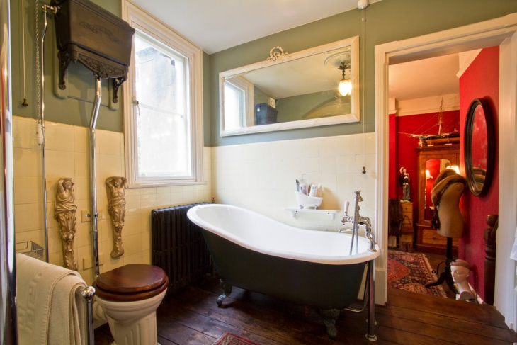 green victorian look bathroom