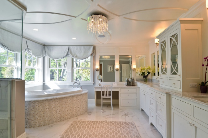 Lavish White Cabinets Bathroom