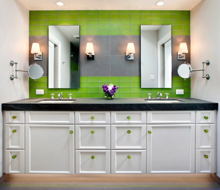 green vintage bathroom lighting design