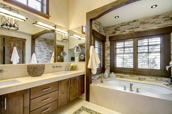 marble tiles rustic bathroom lighting design