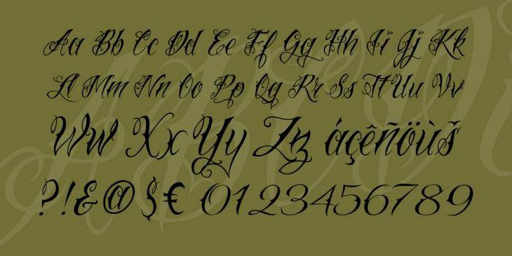 tattoo script cursive font