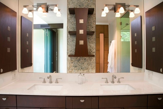 contemporary wooden bathroom mirror design with colorful lighting