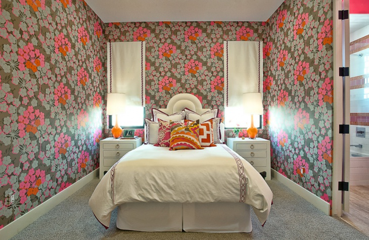 Modern Bedroom with Decorative Wall