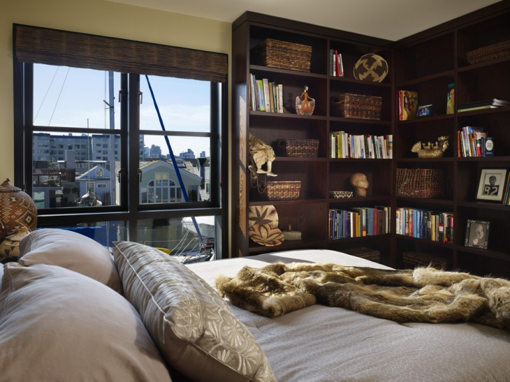 Contemporary Bedroom with Book Shelves