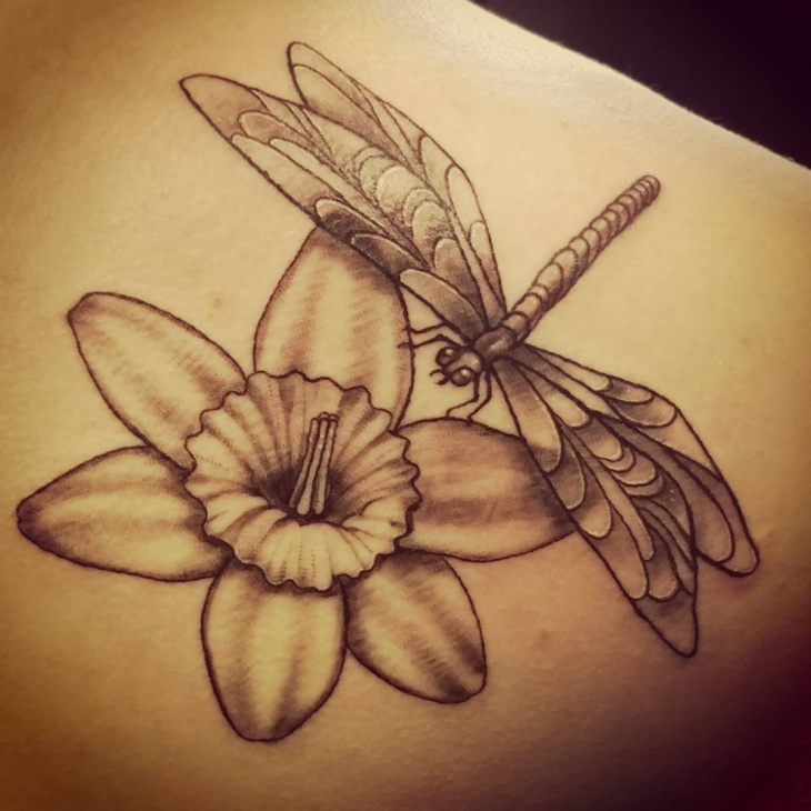 Dragonfly and Daffodil Tattoo Idea