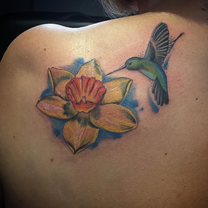 Daffodil Tattoo with Birds