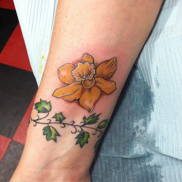 Flower Design On The Wrist Henna Tattoo: 21+ Daffodil Tattoo Designs, Ideas