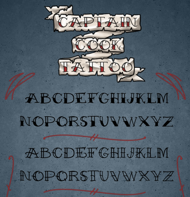 captain cook tattoo font1