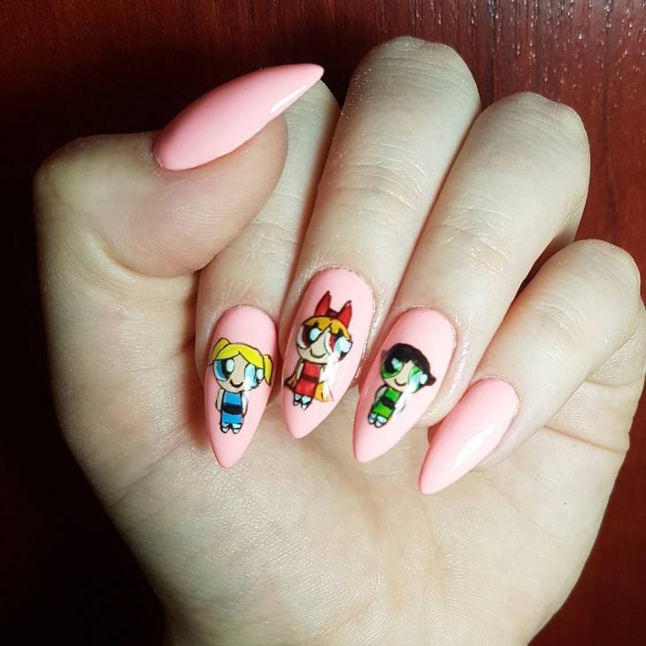 Pink Cartoon Hand Drawn Nail Art
