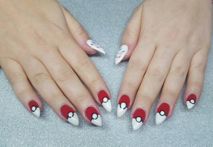 pretty pokemon hand drawn nail art