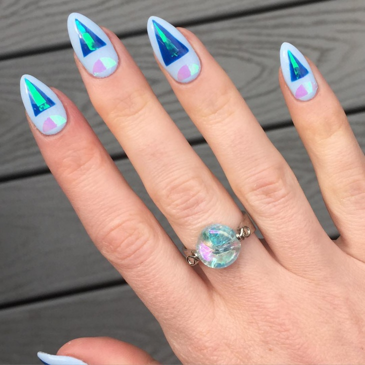 Blue Nail Art for Almond Nails