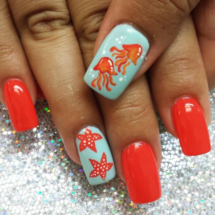 unique jelly fish nail art