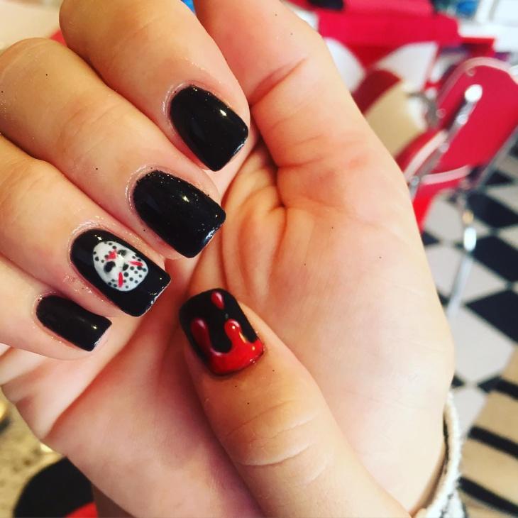 black color nail art design