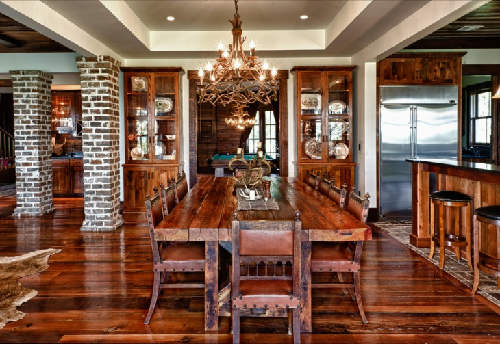 wooden chandelier dining room