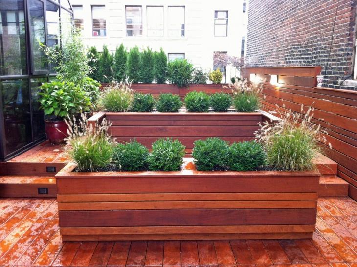 wood planter container garden