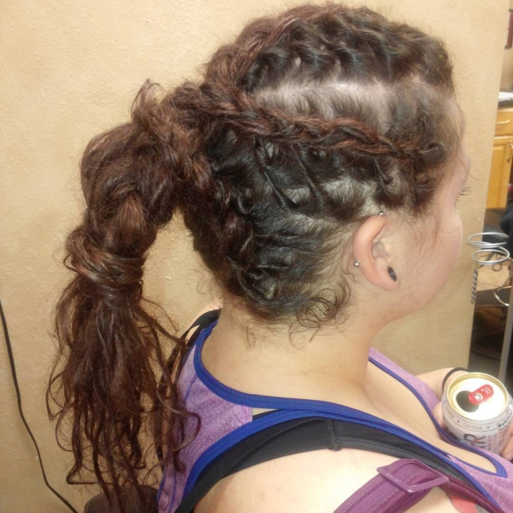 curly braided ponytail