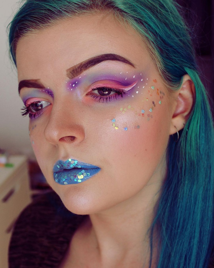 Colorful Pastel Glitter Makeup