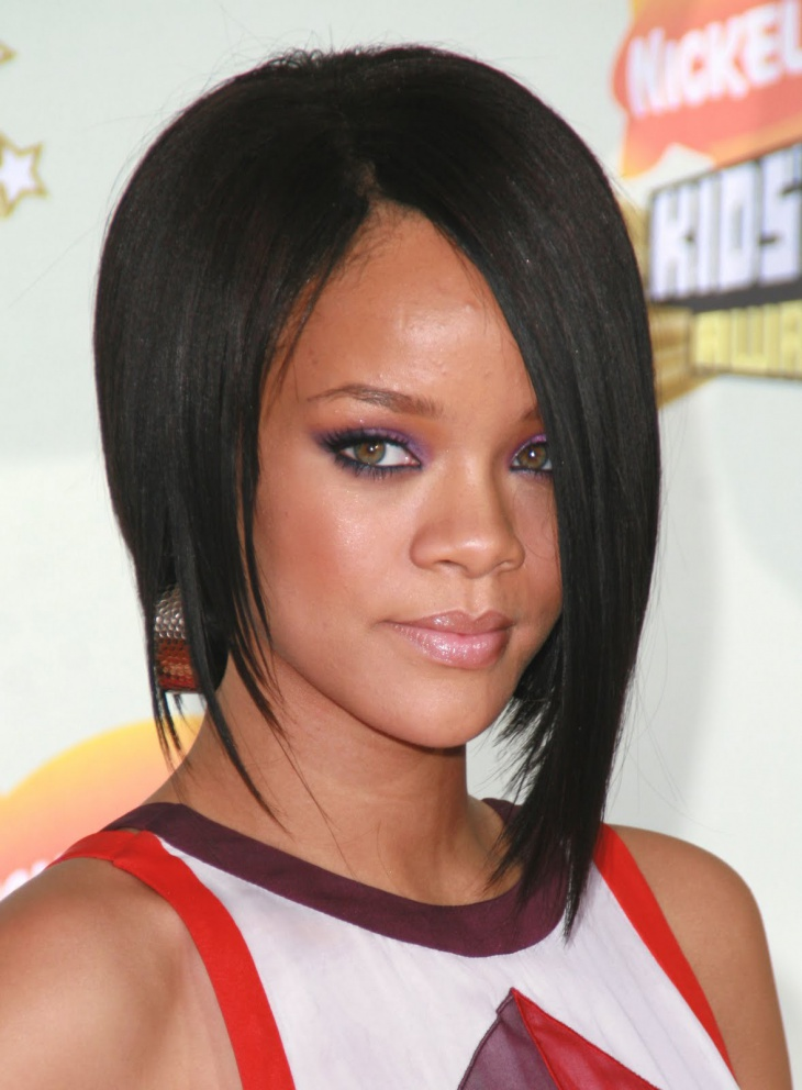Rihanna with Straight Bob Haircut
