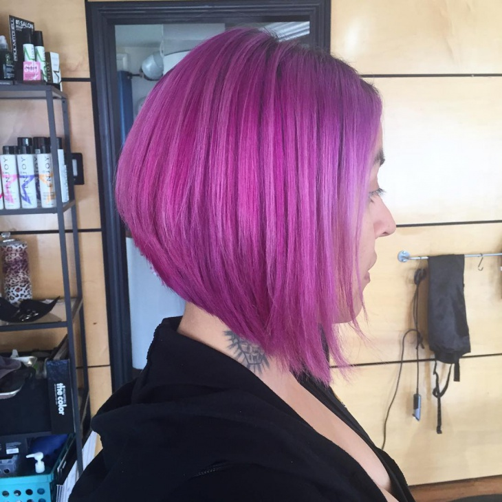 Purple Color Bob Hairstyle