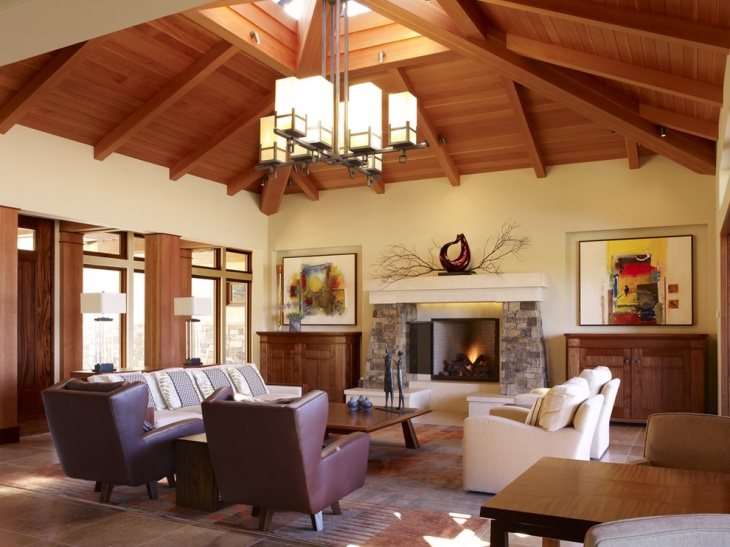 unique living room with wooden roof