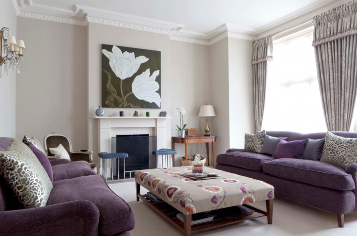 Traditional Family Room with Purple Sofa