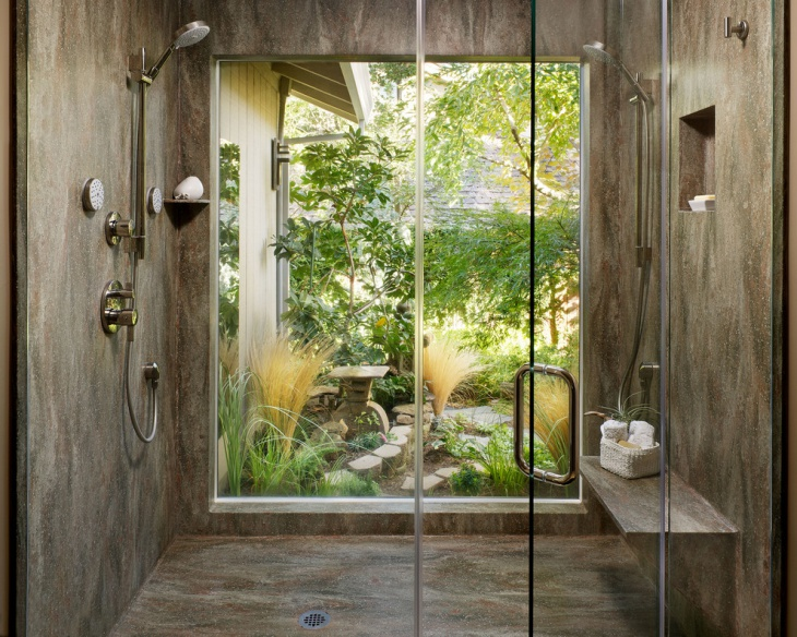 Stone Wall with Shower Bathroom Idea