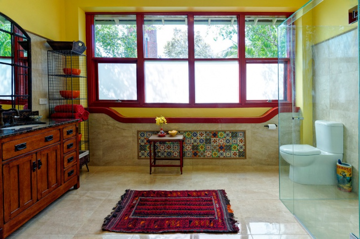Mediterranean Colorful Transparent Bathroom