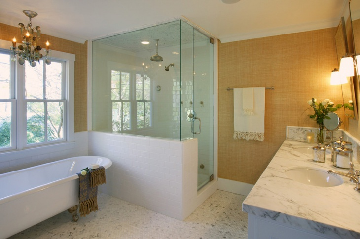 Freestanding Tub and Transparent Shower Bathroom