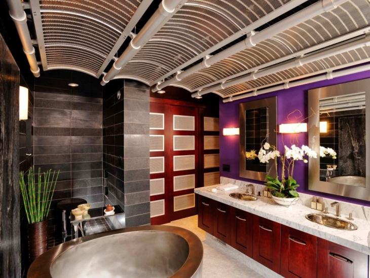 asian bathroom with granite marble walls