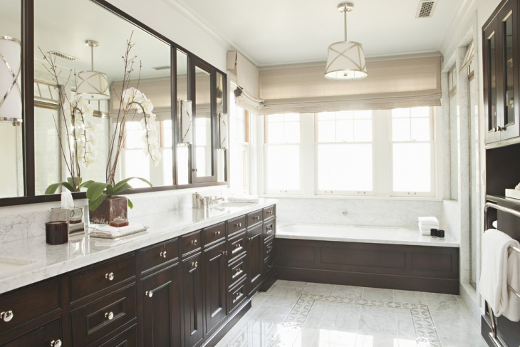 traditional bathroom with polished floor