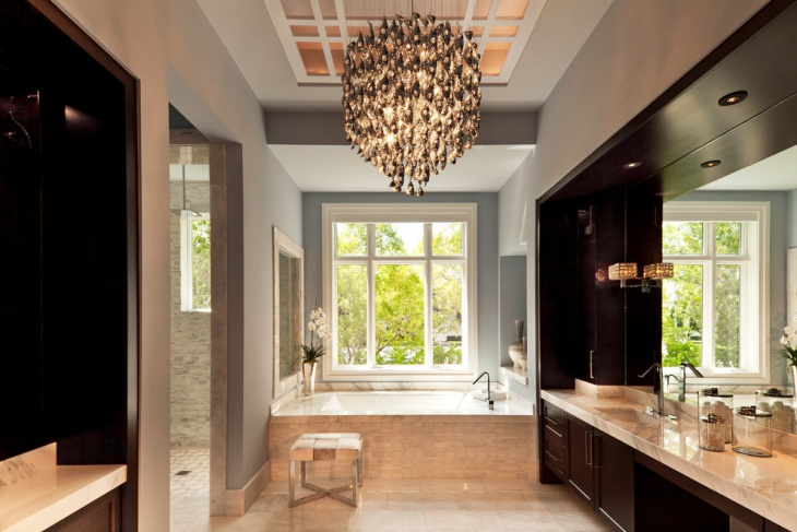 Contemporary Master Bathroom With Chandelier
