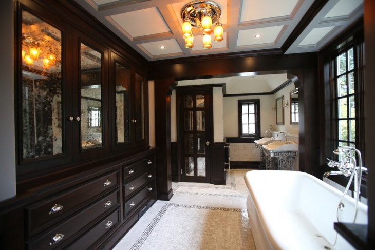 traditional bathroom with dark cabinets