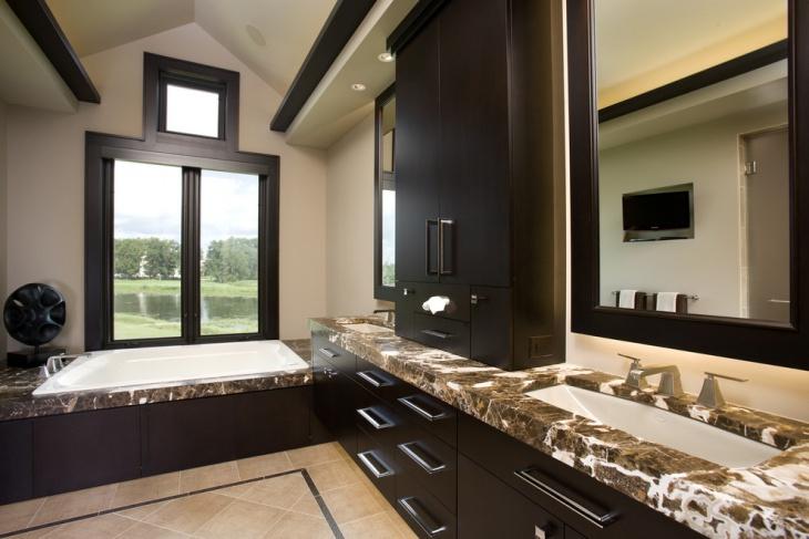 Simple Dark Bathroom Design Idea